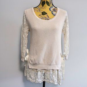 Molly Bracken Cream Knit With Lace Details Blouse